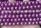 CLV538 15.5 inches 6mm round plated lava beads wholesale