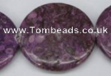 CMB34 15.5 inches 40mm flat round dyed natural medical stone beads