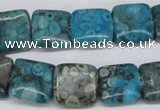 CMB51 15.5 inches 14*14mm square dyed natural medical stone beads