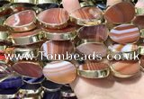 CME529 12 inches 18*28mm - 20*30mm flat teardrop banded agate beads