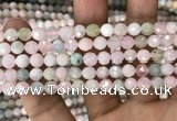 CMG345 15.5 inches 6mm faceted round morganite beads wholesale