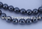 CMH03 16 inches 6mm faceted round magnetic hematite beads