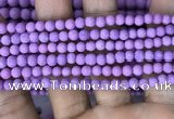 CMJ815 15.5 inches 4mm round matte Mashan jade beads wholesale