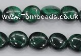 CMN100 15.5 inches 14mm flat round natural malachite beads wholesale