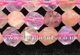 CMQ565 15.5 inches 6mm faceted nuggets mixed quartz beads