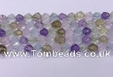 CMQ577 15.5 inches 10mm faceted round mixed quartz beads