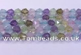 CMQ578 15.5 inches 12mm faceted round mixed quartz beads
