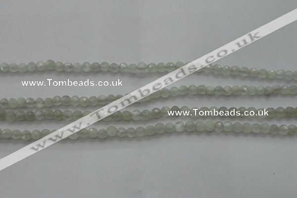 CMS1054 15.5 inches 4mm faceted round grey moonstone beads wholesale