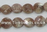 CMS45 15.5 inches 12mm faceted coin moonstone gemstone beads