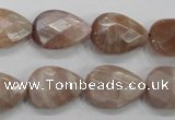 CMS54 15.5 inches 13*18mm faceted flat teardrop moonstone beads