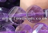 CNA1108 15.5 inches 8mm twisted & faceted coin amethyst beads