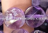 CNA1110 15.5 inches 12mm twisted & faceted coin amethyst beads