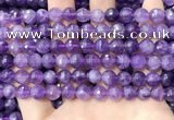 CNA1114 15.5 inches 8mm faceted round amethyst gemstone beads