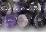 CNA1163 15.5 inches 10mm faceted round natural dogtooth amethyst beads