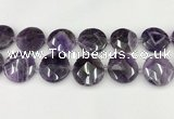 CNA1211 15.5 inches 30mm faceted coin amethyst gemstone beads