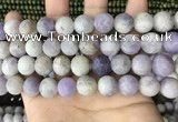 CNA679 15.5 inches 12mm round matte lavender amethyst beads