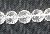 CNC55 15.5 inches 14mm faceted round grade A natural white crystal beads