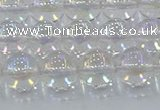 CNC572 15.5 inches 10mm round plated natural white crystal beads
