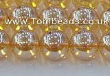 CNC579 15.5 inches 12mm round plated natural white crystal beads