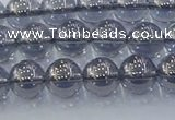 CNC594 15.5 inches 6mm round plated natural white crystal beads