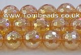 CNC616 15.5 inches 10mm faceted round plated natural white crystal beads
