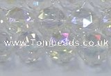 CNC648 15.5 inches 12mm faceted round plated natural white crystal beads