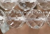 CNC706 15.5 inches 14mm faceted round white crystal beads