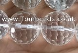 CNC716 15.5 inches 14mm faceted round white crystal beads