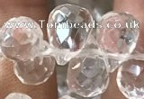 CNC822 Top drilled 6*9mm faceted teardrop white crystal beads
