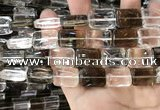 CNC827 15.5 inches 13*18mm rectangle white crystal & smoky quartz beads