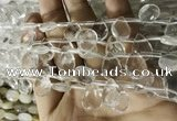CNC844 Top drilled 10*14mm faceted briolette white crystal beads