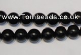 CNE04 15.5 inches 10mm round black stone needle beads wholesale