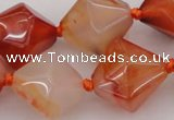 CNG1067 15.5 inches 15*20mm - 18*25mm faceted bicone red agate beads