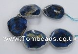 CNG2179 8 inches 40*45mm - 45*50mm freeform agate beads with brass setting