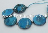 CNG2300 7.5 inches 35mm flat round agate beads with brass setting