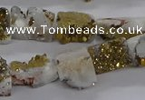 CNG3156 15.5 inche 8*15mm - 11*20mm freeform plated druzy agate beads