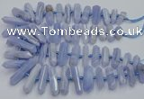 CNG3209 15.5 inches 10*25mm - 12*45mm faceted nuggets blue lace agate beads