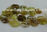 CNG5085 20*30mm - 25*45mm freeform yellow & green opal beads