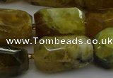 CNG5087 13*18mm - 15*25mm faceted nuggets yellow & green opal beads