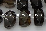 CNG5215 15.5 inches 12*16mm - 15*20mm faceted nuggets smoky quartz beads