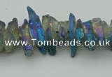 CNG5467 15.5 inches 6*10mm - 8*20mm nuggets plated quartz beads