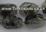 CNG5695 12*16mm - 15*25mm faceted nuggets black rutilated quartz beads