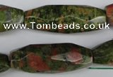 CNG596 13*35mm - 14*38mm faceted rice unakite nugget beads