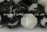CNG6056 15.5 inches 12mm faceted nuggets black & white jasper beads