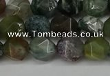 CNG6083 15.5 inches 8mm faceted nuggets moss agate beads
