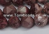 CNG6200 15.5 inches 10mm faceted nuggets red artistic jasper beads