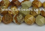 CNG7377 15.5 inches 10mm faceted nuggets picture jasper beads