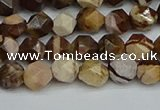 CNG7380 15.5 inches 6mm faceted nuggets zebra jasper beads