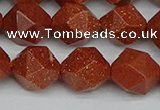 CNG7403 15.5 inches 12mm faceted nuggets goldstone beads