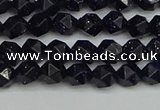 CNG7405 15.5 inches 6mm faceted nuggets blue goldstone beads
